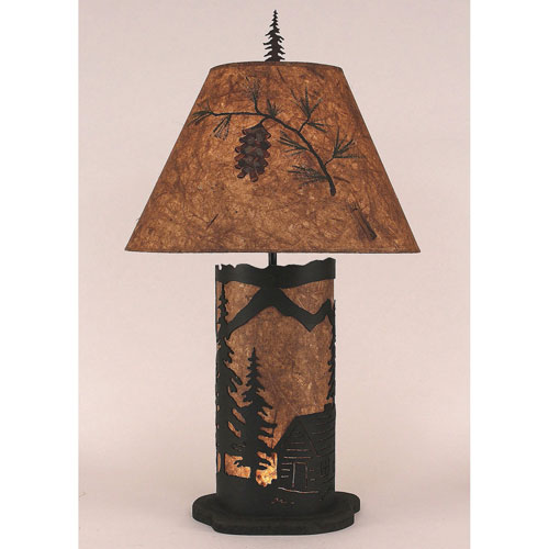 Coast Lamp Manufacturing Rustic Living Kodiak and Wood Chip Stain One-Light Table Lamp with Night Light