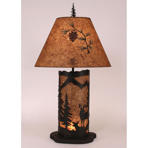 Rustic Living Kodiak and Wood Chip Stain One-Light Table Lamp with Night Light