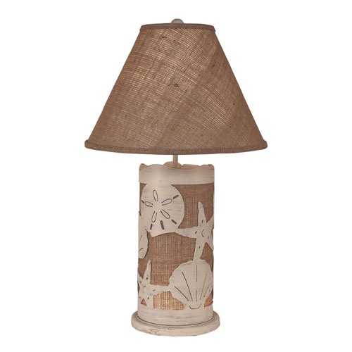 Coastal Living Cottage and Burlap One-Light Table Lamp with Night Light