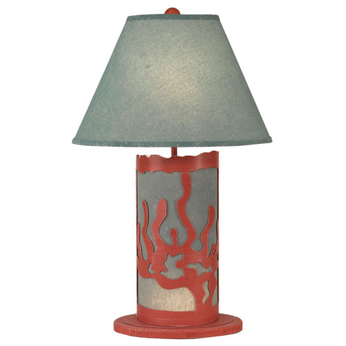 Coastal Living Weathered Coral One-Light Table Lamp with Night Light