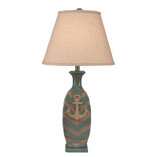 Coastal Living Cottage and Glazed Turquoise Sea One-Light Table Lamp