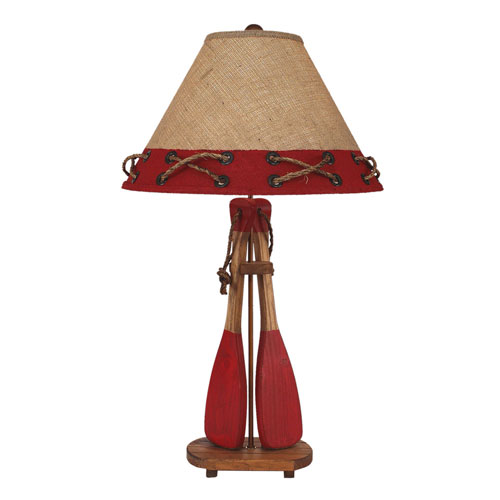 Coastal Living Natural Stain and Brick Red One-Light Table Lamp