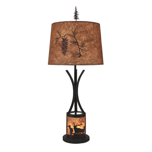 Coast Lamp Manufacturing Rustic Living Kodiak and Woodchip Stain One-Light  Table Lamp with Night Light