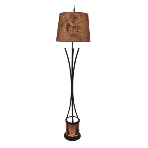 Rustic Living Kodiak And Woodchip Stain One Light Floor Lamp With Night