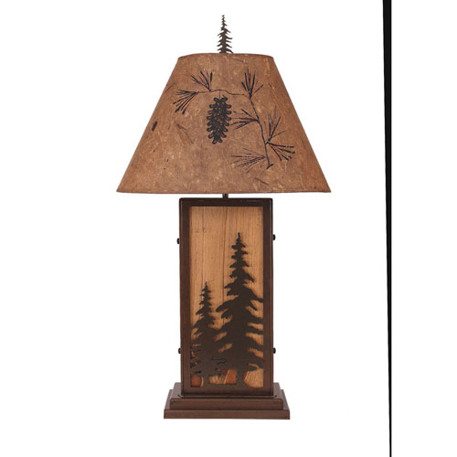 Rustic Living Woodland and Natural Stain One-Light Table Lamp