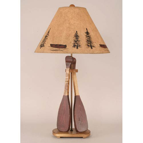 Rustic Living Natural Stain with Red Accent One-Light Table Lamp