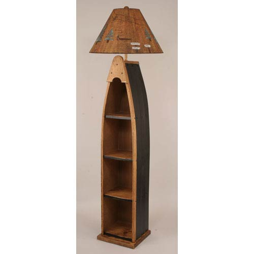 Rustic Living Natural Stain with Black Accent One-Light Boat Floor Lamp with Shelf