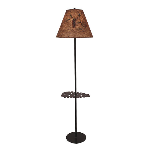 Rustic Living Burnt Umber and Honey One-Light Floor Lamp with Tray