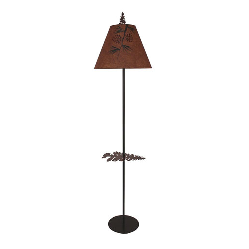 Rustic Living Charred One-Light Floor Lamp with Tray