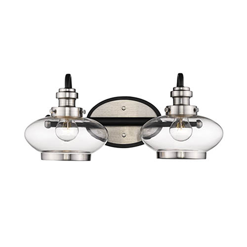 Matte Black and Satin Nickel Two-Light Vanity