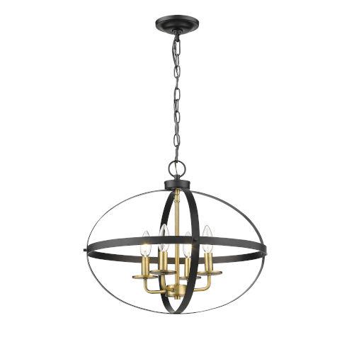 Matte Black and Heirloom Bronze Four-Light Pendant
