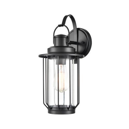 Belvoir Powder Coat Black One-Light 7-Inch Outdoor Wall Bracket With Transparent Glass