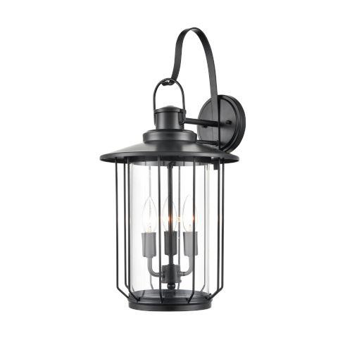Belvoir Powder Coat Black Three-Light Outdoor Wall Bracket With Transparent Glass