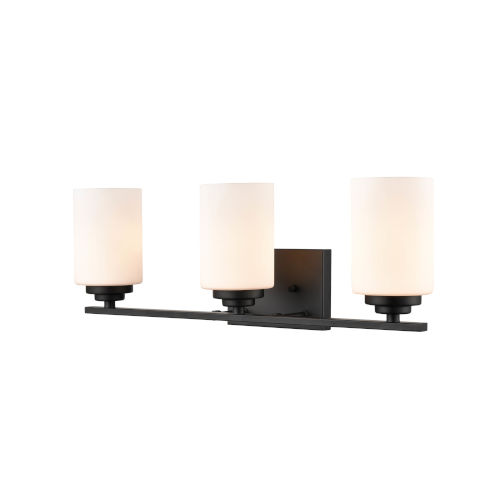 Matte Black Three-Light Bath Vanity With Etched White Glass