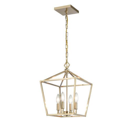 Modern Gold 12-Inch Four-Light Pendant