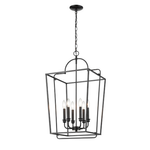 Matte Black 18-Inch Six-Light Pendant