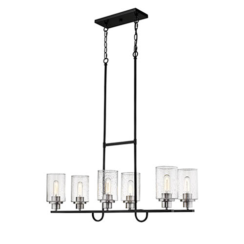 Clifton Matte Black and Brushed Nickel Six-Light Island