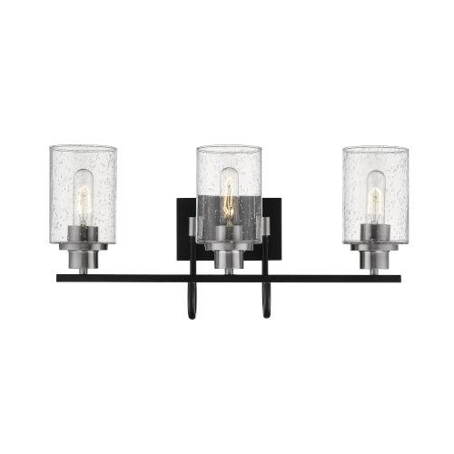 Clifton Matte Black and Brushed Nickel Three-Light Vanity