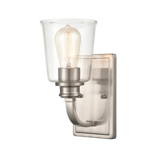 Forsyth Brushed Nickel One-Light Bath Vanity With Transparent Glass