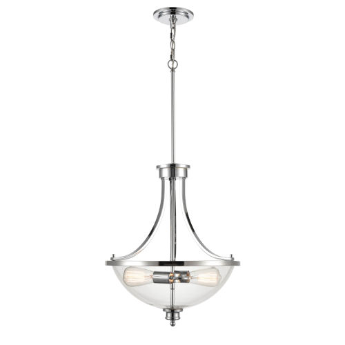 Chrome Two-Light Chandelier With Transparent Glass