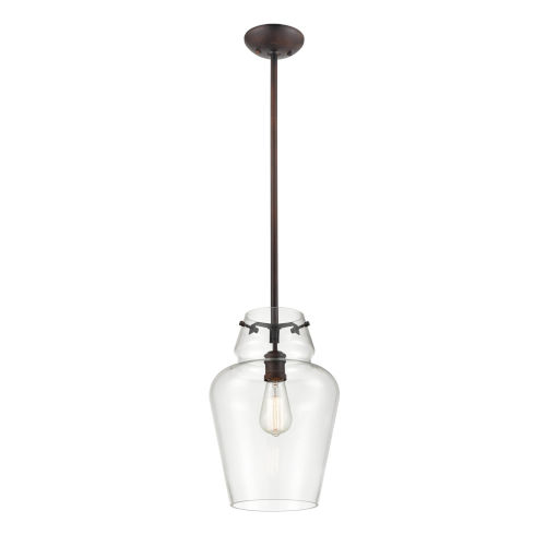 Rubbed Bronze One-Light 12-Inch Pendant With Transparent Glass
