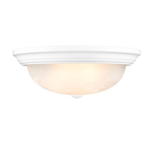 Matte White 13-Inch Two-Light Flush Mount