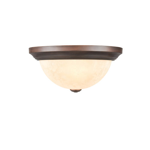 Rubbed Bronze 13-Inch Two-Light Flush Mount