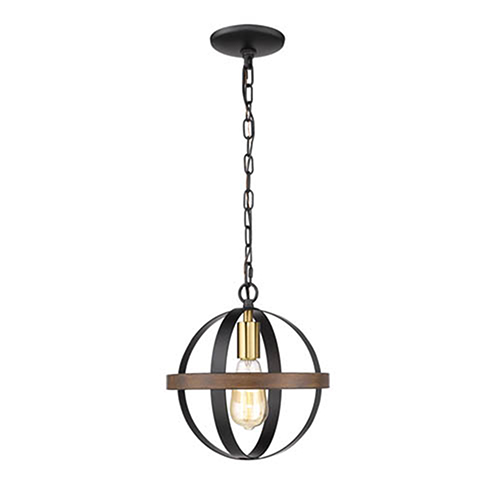 Matte Black and Heirloom Bronze One-Light Pendant