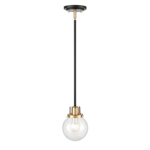 Matte Black Modern Gold One-Light Mini Pendant