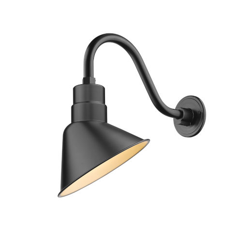 R Series Satin Black 10-Inch One-Light Outdoor Wall Sconce with Gooseneck
