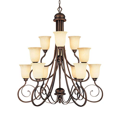 Chateau Rubbed Bronze Twelve-Light Chandelier with Turinian Scavo Glass