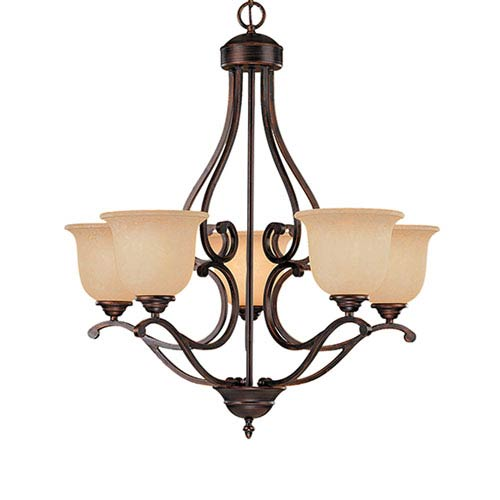 Millennium Lighting Courtney Lakes Rubbed Bronze Five-Light Chandelier with Turinian Scavo Glass