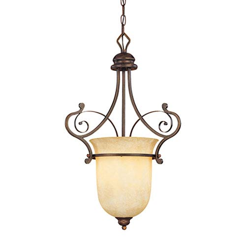Chateau Rubbed Bronze One-Light Pendant with Turinian Scavo Glass
