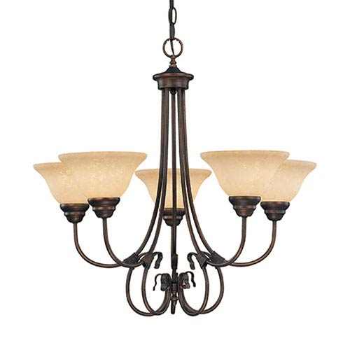 Millennium Lighting Fulton Rubbed Bronze Five-Light Chandelier with Turinian Scavo Glass