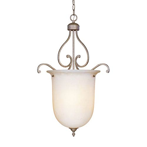 Millennium Lighting Courtney Lakes Vintage Iron Three-Light Pendant with Linen Glass