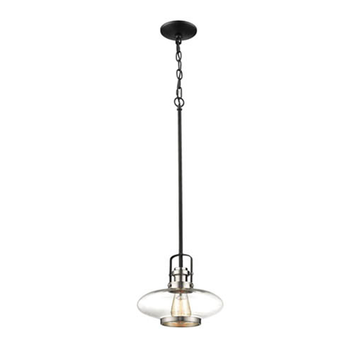 Satin Nickel and Matte Black One-Light Mini-Pendant with Clear Glass