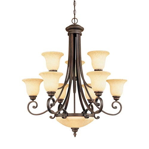 Oxford Rubbed Bronze Eleven-Light Chandelier with Turinian Scavo Glass