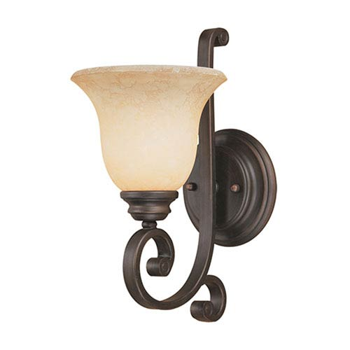 Oxford Rubbed Bronze One-Light Sconce with Turinian Scavo Glass