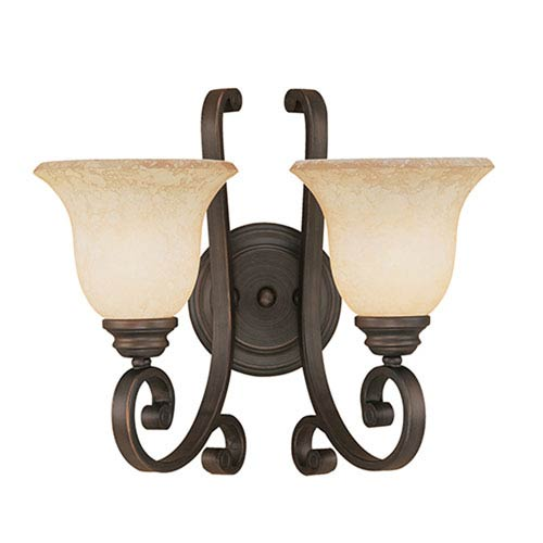 Oxford Rubbed Bronze Two-Light Sconce with Turinian Scavo Glass