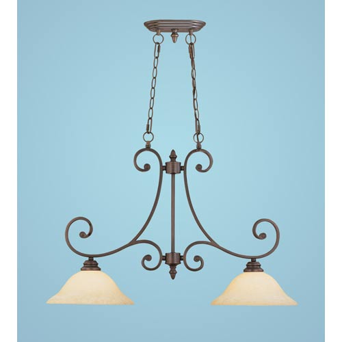 Millennium Lighting Oxford Rubbed Bronze Two-Light Island Pendant with Turinian Scavo Glass