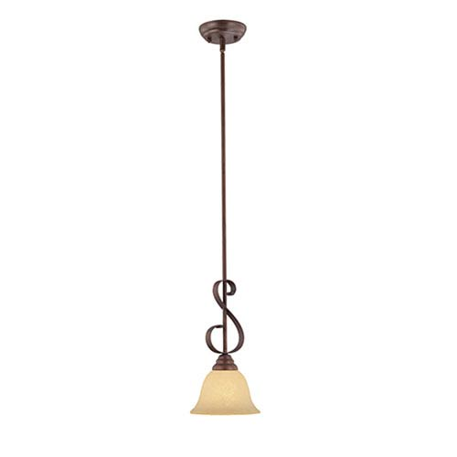 Millennium Lighting Auburn Rubbed Bronze One-Light Mini Pendant with Turinian Scavo Glass