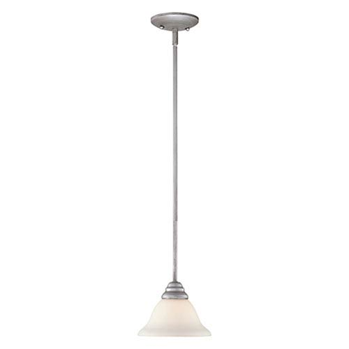 Millennium Lighting Fulton Rubbed Silver One-Light Mini Pendant with Etched White Glass