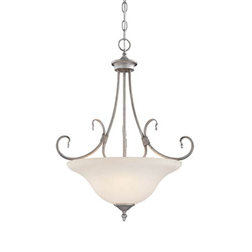 Millennium Lighting Fulton Rubbed Silver Three-Light Pendant with Etched White Glass