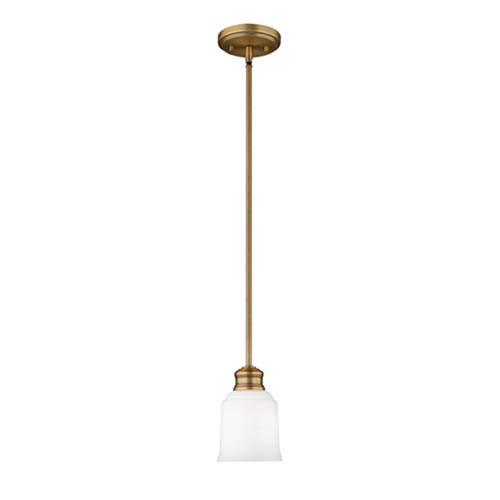 Burbank Heirloom Bronze One-Light Mini-Pendant with Etched White Glass
