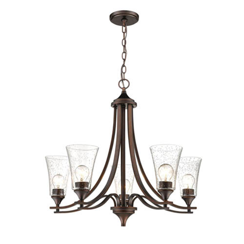 Natalie Rubbed Bronze Five-Light Chandelier with Clear Seeded Glass