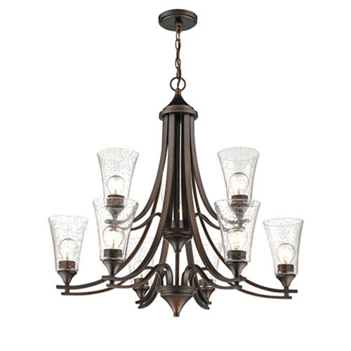 Natalie Rubbed Bronze Nine-Light Chandelier with Clear Seeded Glass