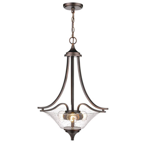 Natalie Rubbed Bronze Three-Light Pendant with Clear Seeded Glass