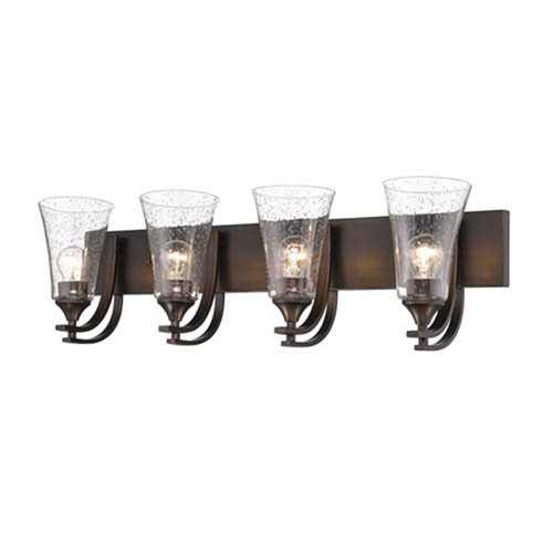 Natalie Rubbed Bronze Four-Light Vanity with Clear Seeded Glass