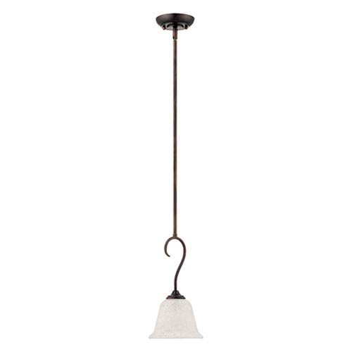 Millennium Lighting Cleveland Rubbed Bronze One Light Mini Pendant with Light India Scavo Glass