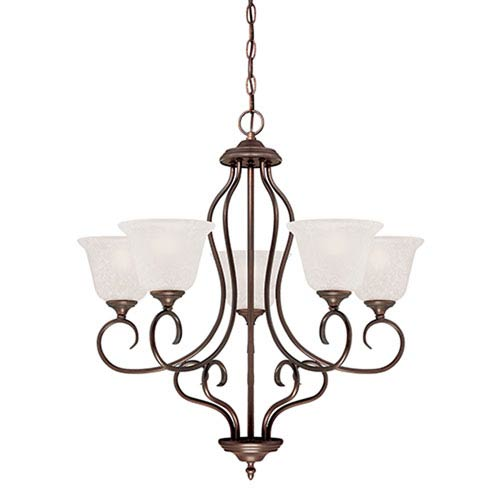 Millennium Lighting Cleveland Rubbed Bronze Five Light Chandelier with Light India Scavo Glass